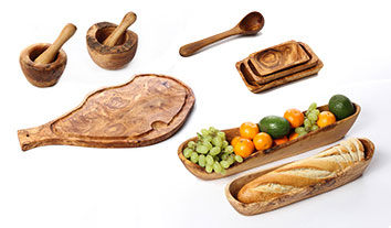 Olive wood cutting and serving boards, salad and fruit bowls, bread baskets, jacks and more